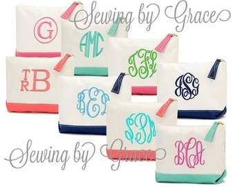 Monogrammed Cosmetic Bag. Personalized Makeup Bag. Personalized Bridesmaid Gifts. Bridal Party Gifts. Embroidered Cosmetic Makeup Bags.