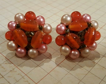 Vintage Pink Orange Cluster bead earrings, pink faux pearl and Orange beads, 1950's Estate, Mid Century, Retro
