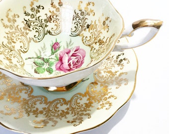 Vintage Tea Cup Pink Rose  Gold ~ Made in England~ Cup & Saucer~ Floral