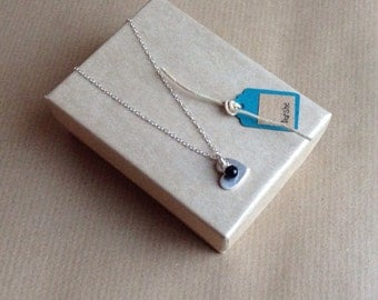 Heart Pendant Fine silver with gemstone onyx dangle, heart necklace,