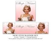 NEW LOOK Etsy banner set Vintage Marilyn Monroe diamonds banner avatar 1200x300 500x500 Retro banner
