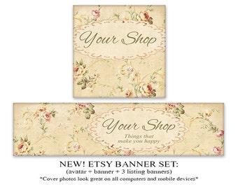 ETSY COVER Etsy banner set Shabby flowers banner avatar 1200x300 Banner 500x500 Avatar