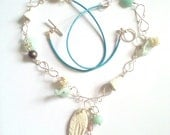 Beach theme mixed media necklace, silver plated, shell, polymer clay