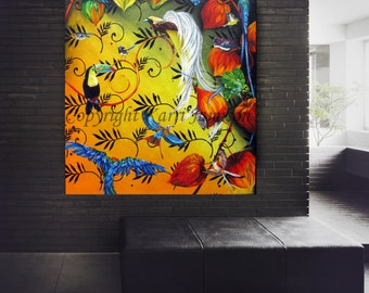Karri Jamison Canvas PRINT, Title: The Gathering, Huge GICLEE PRINT on Canvas 39x44 inches