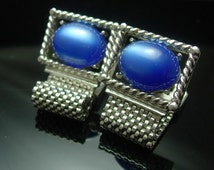 Blue wedding cuff links MOONGLOW SWank Vintage Cufflinks Silver Mesh Wrap Jewelry hipster tuxedo jewellery groomsman gift