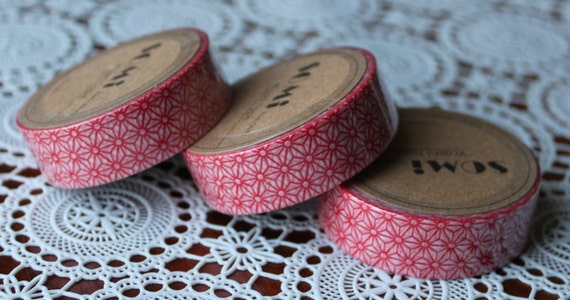 Scrapbook Supplies- 1 roll. Washi Tape. Red Flowers - Little Laser Lab