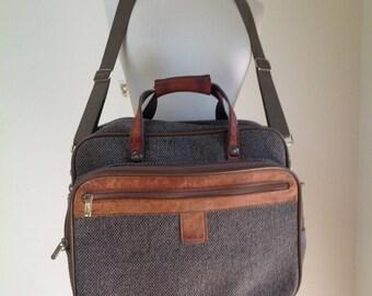 Vintage HARTMANN Leather and Tweed Shoulder Bag Luggage