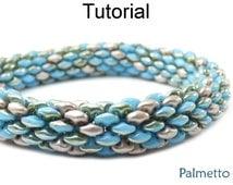 Beading Tutorial Pattern - SuperDuo Tubular Bracelet Necklace - Simple Bead Patterns - Palmetto #18059