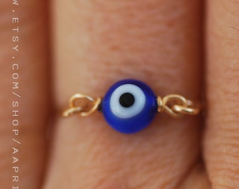 Evil eye ring, gold / silver ring, stacking ring, eye body jewelry. evil eye jewelry, gold stacking ring, gift for her