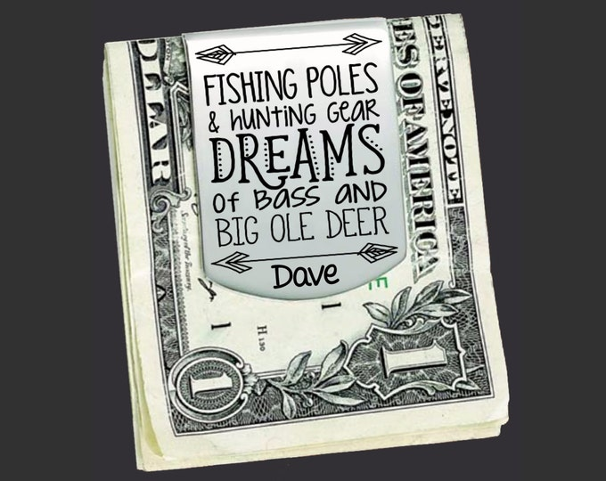 Fishing Dad | Hunting Dad | Fathers Day Gift | Dad Gift | Gift for Dad | Husband Gift | Custom Money Clip | Money Clip Korena Loves