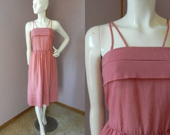 25% OFF SALE Vintage 1960's Pink/Mauve Color Summer Dress / Crepe Fabric Spaghetti Strap Dress / Nipped Waist / Full Skirt