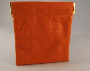 Orange Leather Spring Top Purse/Squeeze Top Purse