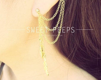 Valentines Sale Gold Ear Cuff Set Falling Feathers