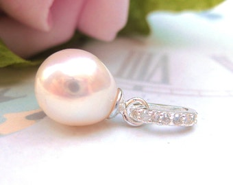Freshwater drop pearl bridal pendant with classic Silver Bail with Diamond CZ