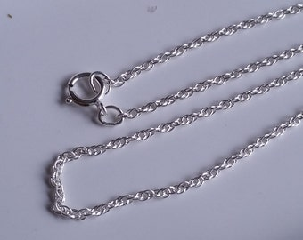 "1-16"" 925 Sterling Silver Necklace 1mm Rope Style Necklace MADE In ITALY"