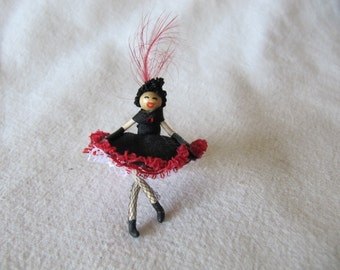 Vintage Miniature Can-Can Dancer Doll Spanish Flamenco Dancer Doll