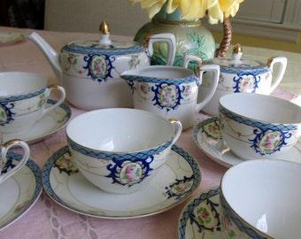 Tea Set, Noritake, 13 Pc, Green Mark, Blue and White