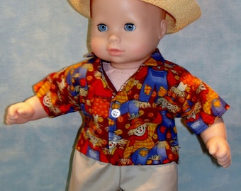 15 Inch Doll Clothes - Fall Scarecrow Boys Shirt Pants Hat handmade by Jane Ellen to fit 15 inch baby dolls