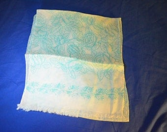 ON SALE   Oblong Scarf in Aqua and White