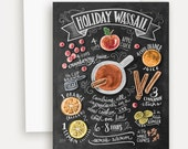 Unique Holiday Card - Christmas Chalkboard - Holiday Greeting Card - Chalkboard Christmas Card - Christmas Food Gift