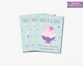 Sundae Valentines Card Kids Valentines Cards Sweet & Cool Card Ice Cream Valentine Printable Valentines Classroom Valentines Personalized