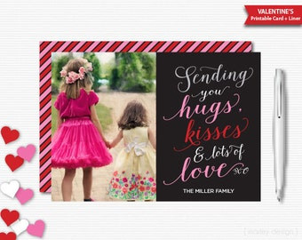 Sending Love Valentines Photo Card Valentines Greeting Card Announcement Happy Heart Day Digital Valentines Card Printable Valentines Day