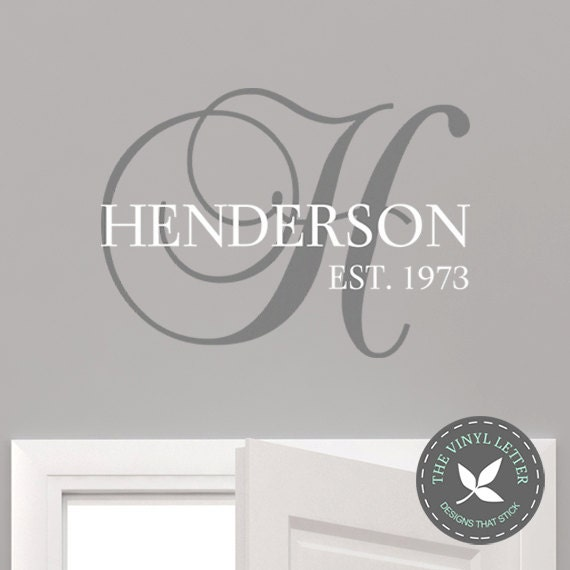 custom family last name monogram vinyl wall decor decal. Black Bedroom Furniture Sets. Home Design Ideas