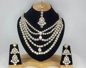Indian Kundan Jewellery Set Handmade Gold Alloy and Rhinestones Clear Stones AQ/214