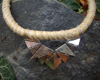 10mm Natural Hemp Cord Necklace with Chunky Antique Silver Art Deco Triangle Pendant