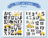 Kid's Construction Alphabet And Numbers Art Prints Whimsical 'Set Of Two' Prints Construction Vehicles Letters  Numbers Boys Wall  Art