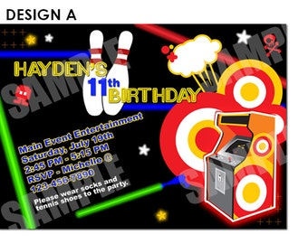 Bowling, Video Game, Laser Invitation Printable - Birthday Party Invitation