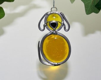 Stained Glass Yellow Dog Ornament, Suncatcher