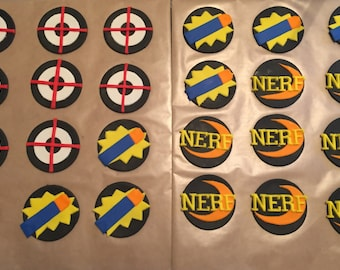 Nerf Inspired Fondant Cupcake Toppers - 6
