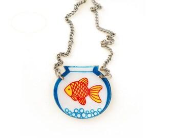 Goldfish Bowl Shrink Plastic Necklace (transparency)