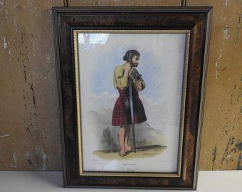 Framed Scottish Highlander  ~ Vintage Reproduction Print 1845 Clan MacDugal Illustration, Red & Black Plaid Tartan Scotland Wall Art Hanging
