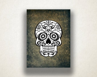 Black and White Sugar Skull Canvas Art Print, Skull Wall Art, Artistic Wall Art, Canvas Art, Canvas Print, Home Art, Wall Art