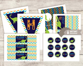 Chevron Dinosaur Birthday Party Pack Printables - Instant Download