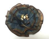Gold Silk Flower Brooch, Silk Magnetic Scarf Pin, Magnetic Brooch