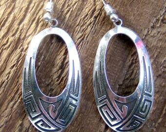 Huge Tribal Sterling Silver Dangle Earrings Bohemian Jewelry