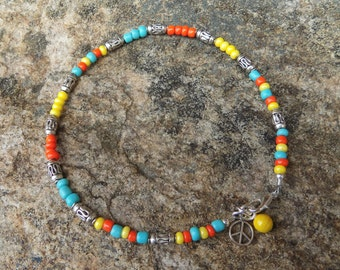 Tropical Fun Beaded Anklet