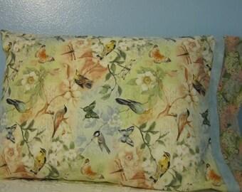 SALE!!!  PILLOWCASE/ Birds and butterflies/floral cuff