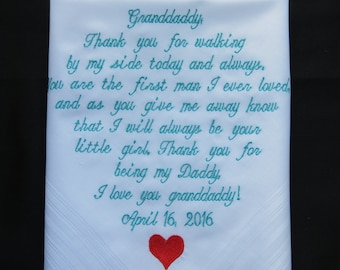 Grandpa of the Bride - Personalized Wedding Hankie Embroidered Wedding Hanky -Shown with Aqua Thread Writing Wedding Handkerchief