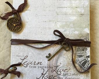 "Journal-Smash Book-Junk Journal-Photo Album-Travel-Timepieces-6"" X 8"""