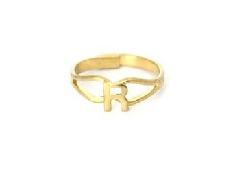 Vintage Gold Initial Letter Ring