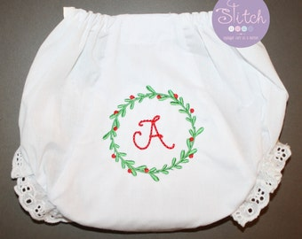 Christmas Wreath with Initial Embroidered on Bloomers