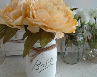 Cottage Chic Pale Yellow Peony Flower Pens with Mason Jar Vase