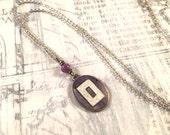 Dainty Vintage Cufflink Necklace - Purple Enamel Art Deco Amethyst Antique