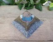 Orgone Pyramid with Tensor Ring, Cubit coil, and blue square orgone inside - EMF protection - Healing energy - Positive Energy -