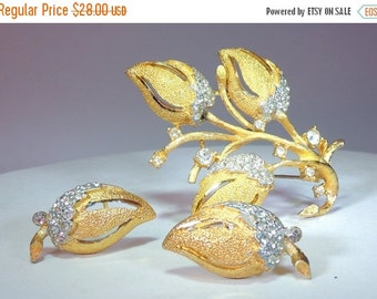 Sizzlin Summer Sale BSK Rhinestone Gold Washed Textured Rose Set
