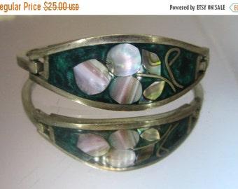Sizzlin Summer Sale Vintage Jewelry Bracelet Silver Mother Of Pearl Bracelet.